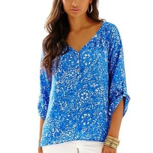 Lilly Pulitzer Silk Tye Top Give Em Shell Shirt